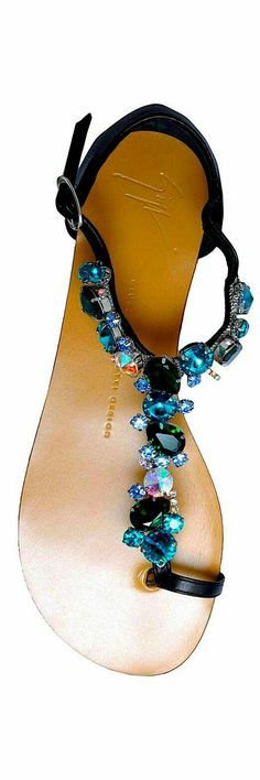 Black and Blue Sandals