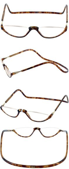 86070ed8dd Reading Glasses  Clic Snap Magnetic Half Eye Neck-Hanging Readers  Tortoise  1.25 To