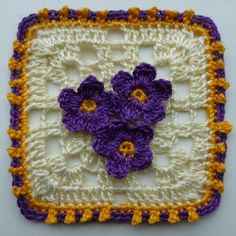 (4) Name: 'Crocheting : 2 Colorful Lacy Squares