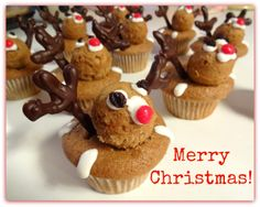 Reindeer Cupcakes Recipe: Learn how to make these over at HIC's blog, The Useful Tool: http://hickitchenblog.com/2013/12/25/reindeer-cupcake-recipe-using-hics-cannonball-ice-ball-tray/