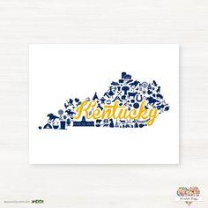 Murray State University - Racers- Murray Kentucky Landmark State Giclée Map Art Print by PaintedPost