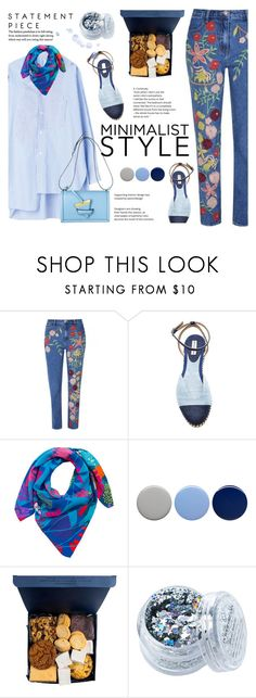 """""""Embroidered jeans"""" by girl-with-ideas ❤ liked on Polyvore featuring Tabitha Simmons, Taisir Gibreel, Burberry, In Your Dreams, Blue, 2017 and embroideredjeans"""