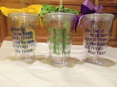 Personalized Decorated Tumblers - teacher appreciation. $10.00, via Etsy.