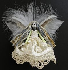 Christmas Ornament, tree ornament, Day of the Dead Fairy, handmade Christmas peg doll decoration, OOAK
