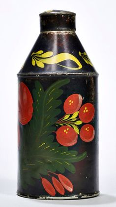 Skinner's - The Personal Collection of Lewis Scranton, Auction 2897M. May 21, 2016. Lot: 49.  Estimate: $800-1,500.  Realized: $1,000.   Description:  Paint-decorated Tin Tea Cannister, attributed to the Filley Tin Shop, Bloomfield, Connecticut, decorated with red flowers, green and yellow leaves, ht. 6 1/2, dp. 3 in.   Provenance: Fred Giampietro, 1984.