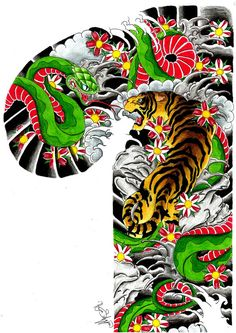 Snake and tiger , arm , chest , body tattoo design