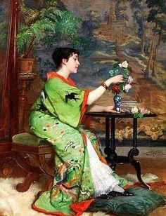 Frans Verhas (Belgium painter) 1827 - 1897,Jeune Femme en Kimono dans un Intérieur (Young Woman in a Kimono in an Interior)