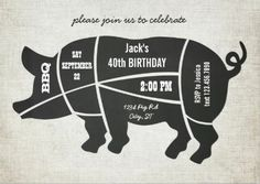 Vintage classic minimalist black and white Pig Roast Invitations. Easy to customize! #pig_roast_invitations