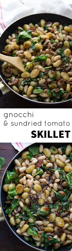 Pan Fried Gnocchi With Sundried Tomatoes and White Beans, a one-pan, 30 minute vegetarian dinner recipe