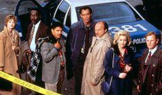 "Cast photo for ""NYPD Blue."" Left to right: Sharon Lawrence, James McDaniel, Nicholas Turturro, Jimmy Smits, Dennis Franz, Gail O'Grady, and Gordon Clapp."