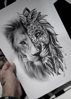 This is beautiful - Tattoo Ideen - tattoos Leo Tattoos, Future Tattoos, Animal Tattoos, Body Art Tattoos, Girl Tattoos, Tatoos, Tattoo Dotwork, Arm Tattoo, Sleeve Tattoos