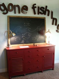 Cute idea for dresser and fishing theme room