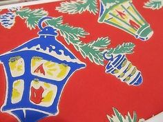 Vintage 1940S Screen Print Gift Tissue Paper Christmas 2 DESIGNS 5 SHEETS (11/23/2014)