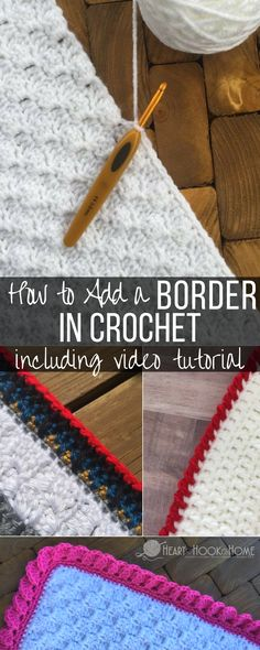 Crochet Edging How to Add a Border in Crochet - video tutorial. This tutorial includes single crochet, double crochet and how to add a border in (corner to corner). Crochet Afghans, Poncho Crochet, Crochet Stitches Patterns, Knit Or Crochet, Crochet Crafts, Free Crochet, Knitting Patterns, Crochet Edgings, Crochet Ideas