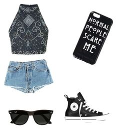 """""""Untitled #15"""" by giuliana-dametto on Polyvore featuring interior, interiors, interior design, home, home decor, interior decorating, Levi's, Converse and Ray-Ban"""