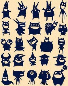 Little Monsters Silhouettes Mehr Doodle Monster, Monster Drawing, Monster Party, Cute Monsters, Little Monsters, Holidays Halloween, Halloween Crafts, Art Indien, Moldes Halloween
