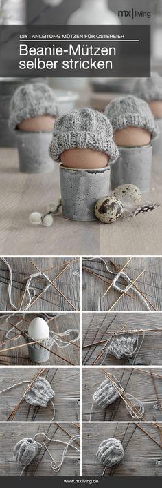 diese Beanie-Mützen für Ostereier sind schnell gemacht und eine hübsche Tischdekoration für den Osterbrunch! #stricken #knitting #strickidee #osterdeko #Grey #Selbermachen #nadelspiel #strickliebe #Ostereier #Frühstückseier #eierwärmer