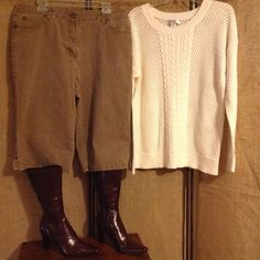 CHristopher & Banks outfit Christopher & Bank outfit. The sweater is size 2X, but fits more like 1X. It is white. Little see through holes. Pants are size 16. They are stretch material. Brown color. Below knee length. Good condition. Boots not included. Christopher & Banks Tops