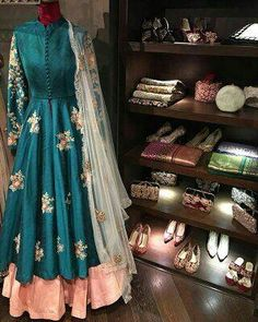 Mahi Fashion ~ Products ~ Blue Banglori Silk Embroidered Front Cut Anarkali Suit ~ Shopify