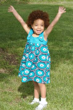 Handmade Girls A-line Sundress Elegant African Ankara Wax Print Fabric, Teal and turqoise, circle prints 3T