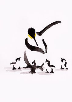 ARTFINDER: Penguin and four chicks by Becca Alaway - A series of Penguin paintings using a loose ink and watercolor wash technique.  Signed on the back.  Each piece is on 130gsm high quality paper.  Packaged ...