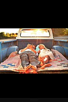 Beautiful cute country couple pick up truck blankets