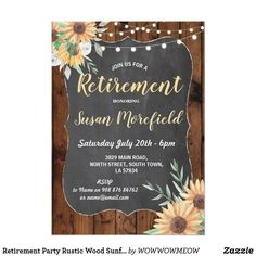 Rustic fall sweet sixteen invitation pinterest retirement party rustic wood sunflower invite sunflower retirement invitation simply change the text to suit stopboris Image collections
