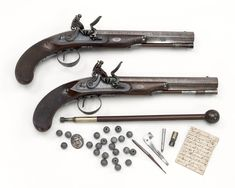 Pair of flintlock duelling pistols owned by Captain William Waller (active 1794-1807).