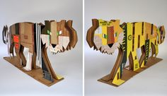 tiger: back+front recycled materials artwork by michael bartalos Cardboard Sculpture, Cardboard Crafts, Cardboard Play, Cardboard Houses, Sculpture Projects, Art Projects, Sculpture Ideas, School Projects, Jungle Decorations
