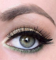 gold glitter & green eyeshadow