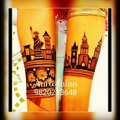 New York and Mumbai Skyline! For bridal mehndi booking and mehndi classes call on 982021 Unique Mehndi Designs, Wedding Mehndi Designs, Dulhan Mehndi Designs, Latest Mehndi Designs, Mehndi Designs For Hands, Henna Mehndi, Mehendi, Mendi Design, Wedding Happy