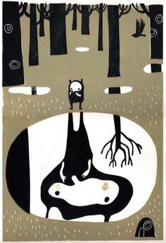 Melvyn Evans - lino print - made me smile