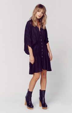 ZION PLEAT & BUTTON MINI DRESS