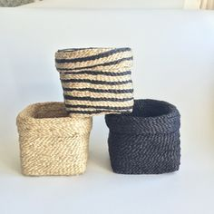 Farzana storage basket with foldover top. It comes in these colour options. Natural, Charcoal or Natural Charcoal stripe.