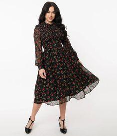 Unique Vintage Black & Red Floral Print Deirdre Shirt Dress