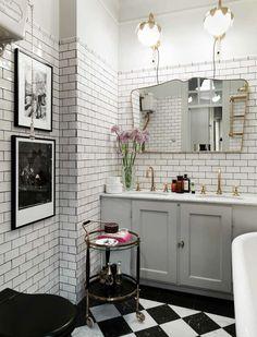 Gravity Home: Vintage Inspired Bathroom In An Elegant And Colourful Scandinavian Home Of Fabrique Founders Art Deco Bathroom, Bathroom Floor Tiles, Bathroom Interior, Bathroom Ideas, Bathroom Wall, Bathroom Lighting, Bling Bathroom, Bathroom Black, Wall Lighting