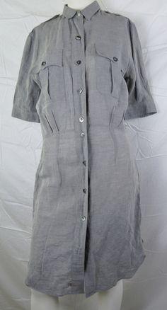 Paul Smith Italian Cloth Linen Cotton Blend Safari Shirt Dress Pockets Gray 44   eBay