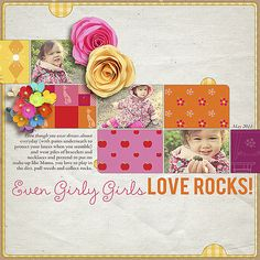 Even girly girls love rocks!  gorgeous digital LO by Cathy P. (via kitschy digitals)