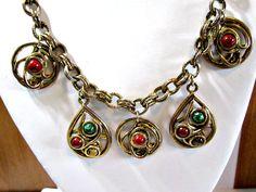 Vintage Necklace Antiqued Dark Gold Tone Double Chain Dangle