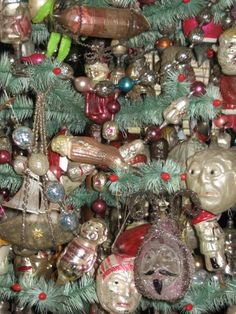 Feather tree with antique German blown glass Christmas ornaments. | Collection of Scott Bullock.