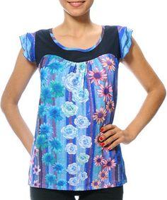 Look at this #zulilyfind! Light Blue & Violet Floral Seho Scoop Neck Top #zulilyfinds
