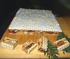 Vianočná delikatesa1/2 šálky lieskové oriešky 1/4 šálky vlašské orechy 100 gr. sušených marhúľ 2 lyž. kand. pomarančovej kôry 2 lyž. kand. citrónovej kôry 1 balíček kand. čerešní lyžica lúpanej slnečnice lyžica ľanových semiačok 2 lyžice plodov Goje 1 lyžica tekvicové semienka 2 vajcia 100 gr. cukru lyžička škorice 1 lyžica vanilka štipka soli 5 lyžíc múky (3 pšen, 1 kukur , 1 pohán.) 2 ks oblátok (24 x 22) poleva (práškový cukor + citrónovou šťavou +1-2 bielky spolu vyšľahať do tuha) Christmas Candy, Christmas Baking, Christmas Cookies, Czech Recipes, Russian Recipes, Cream Cheese Flan, Condensed Milk Cake, Oreo Cupcakes, Mousse Cake