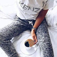 Breakfast  Black Coffee and Whole Grain Waffle Breakfast ~i wouldnt drink my coffee black but