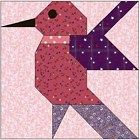 ALL STITCHES - HUMMINGBIRD PAPER PEICING QUILT BLOCK PATTERN .PDF-062A