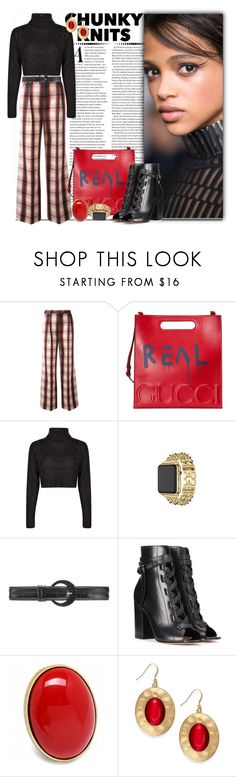 """""""Get Cozy: Chunky Knits_Pretty in Plaid"""" by msmith801 ❤ liked on Polyvore featuring MSGM, Gucci, Boohoo, Apple, Oscar de la Renta, Gianvito Rossi, Fantasy Jewelry Box and Style & Co."""