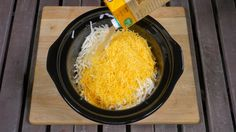nts      1 (32 oz.) bag frozen hash browns     1 (32 oz.) box chicken broth     1 (10 oz.) can condensed cream of chicken soup     1 (8 oz.) package cream cheese, softened     1 1/2 cups sharp cheddar cheese, grated, plus extra for garnish     3/4 cup crumbled bacon, plus extra for garnish     1/2 teaspoon fresh rosemary, minced     kosher salt and freshly ground pepper, to taste  Directions      Combine hash browns, cheddar cheese, chicken broth, cream of chic