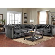 Hancock Tufted Black Italian Chesterfield Leather Sofa and Loveseat ($5,666) ❤ liked on Polyvore featuring home, furniture, sofas, black, leather couch, black leather sofa, tufted leather loveseat, black couch and tufted loveseat