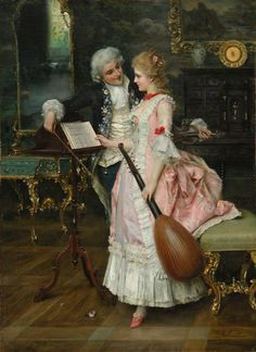 Frederigo Andreotti. 1847-1930. The Key to Her Heart. Artist renowned for painting 17th and 18th century Italian costumes and interiors.