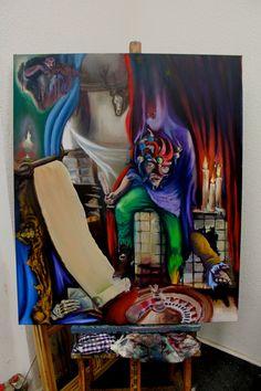"Original and unique oil painting, ""The Game"", figurative art, contemporary art, Berlin art, surrealism, portrait, oil on canvas, artwork"