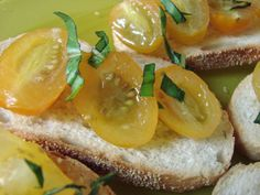 Tomato Bruschetta (Barbara Harris the Victorious Woman) : The Cooking Adventures of Chef Paz Tomato Bruschetta, Bagel, Victorious, Bread, Vegetables, Woman, Yellow, Cooking, Food